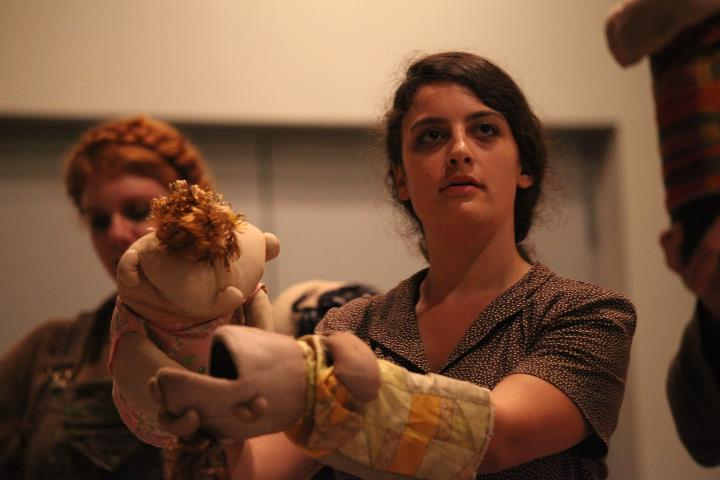 "Actors Kelsey Hogan and Gail Shalan ( plus babies) in the Puppet Baby Funeral March from our preview of ""The Dick and The Rose"" at Shakespeare and Company in Lee, MA 2011"