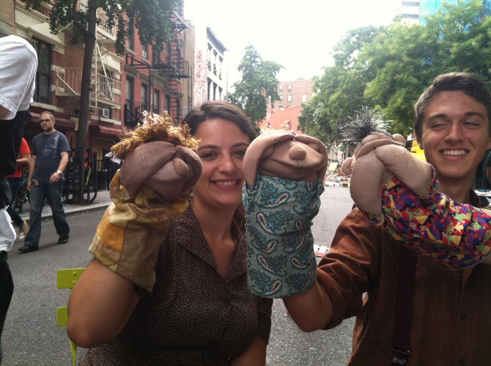 "Ministering Angels Gail Shalan and Evan Gambardella share some puppet love on the streets of lower Manhattan during our 2012 NYC Fringe tour of ""The Dick and the Rose"""