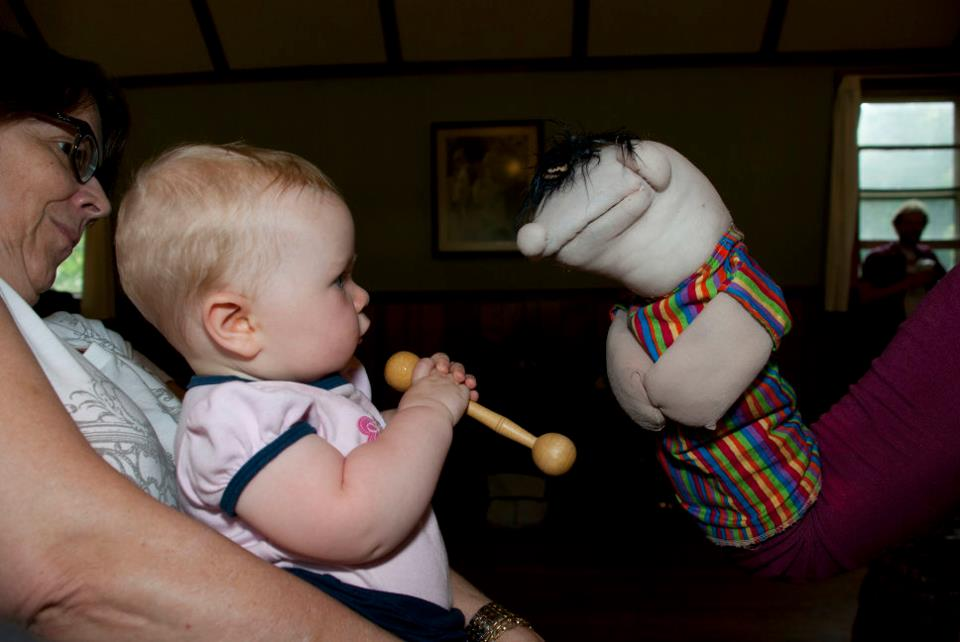 Bob the puppet baby makes friends during rehearsal in 2011