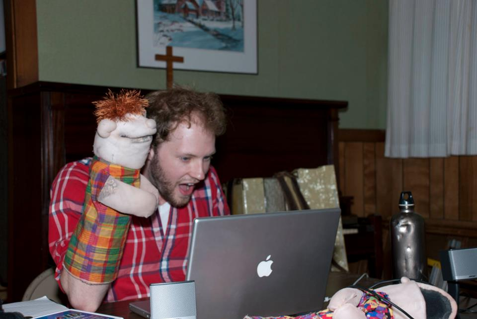 "Musical Director and Ministering Angel, Ian Milliken, plays around with Mickey in rehearsal for the 2011 Edinburgh Tour of ""The Dick and The Rose"""