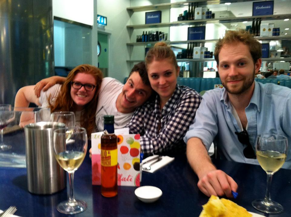 Layover in Heathrow with the gang (R to L: Kelsey Hogan, Dylan Wittrock, Emma Sims-Biggs and Ian Milliken)